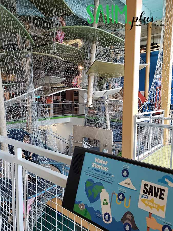 Water stories climbing activity at Glazer children's museum tampa