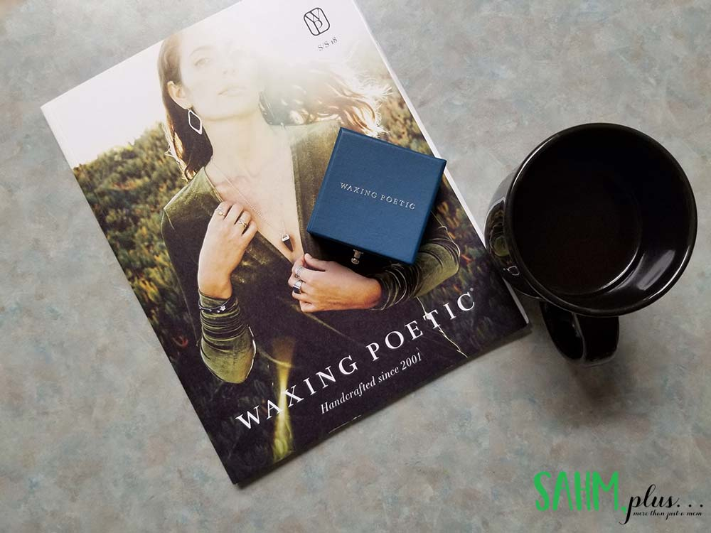 waxing poetic jewelry catalog, box, and cup of coffee