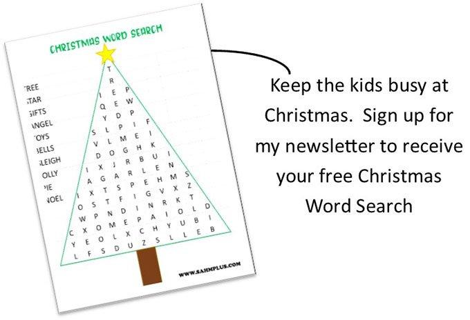 FREE printable Christmas Tree Word Search   www.sahmplus.com